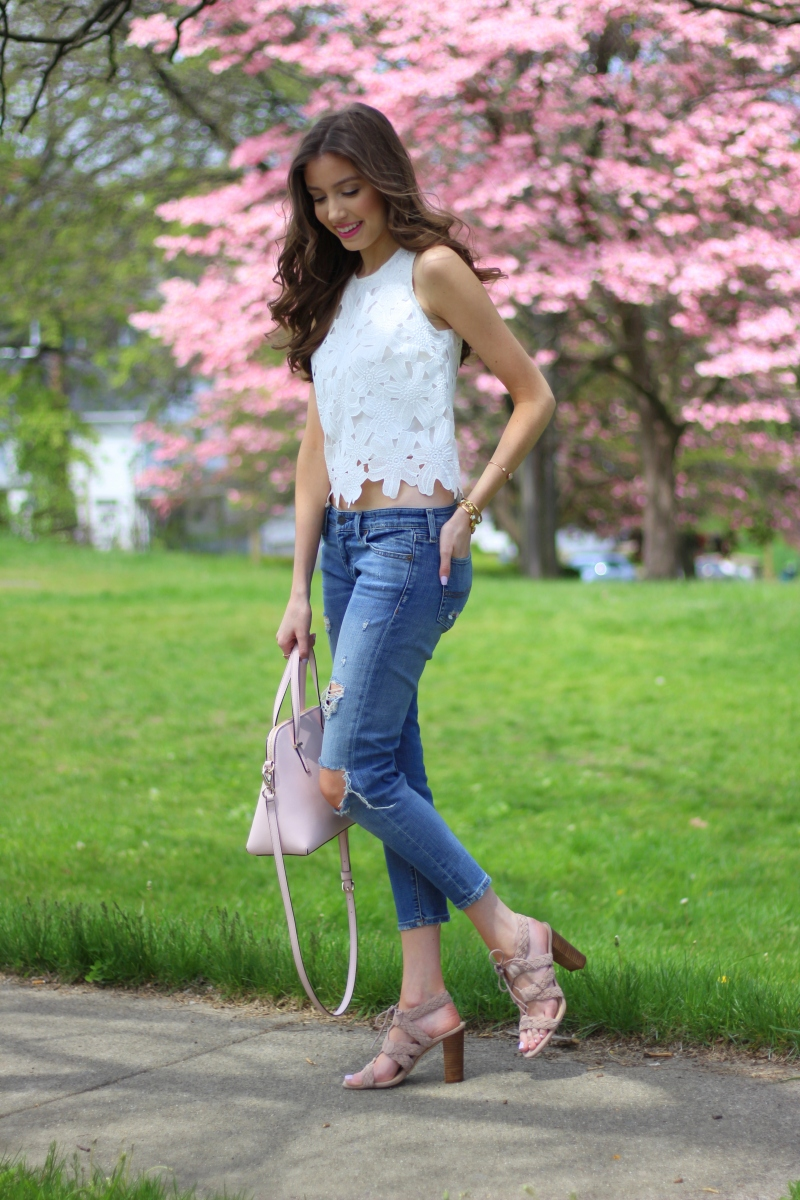 White Lace Top + Cropped Denim